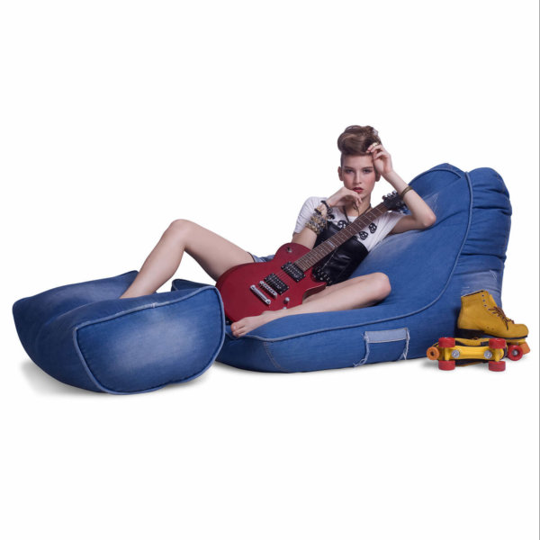 Denim Jeanious bean bag set side view with model