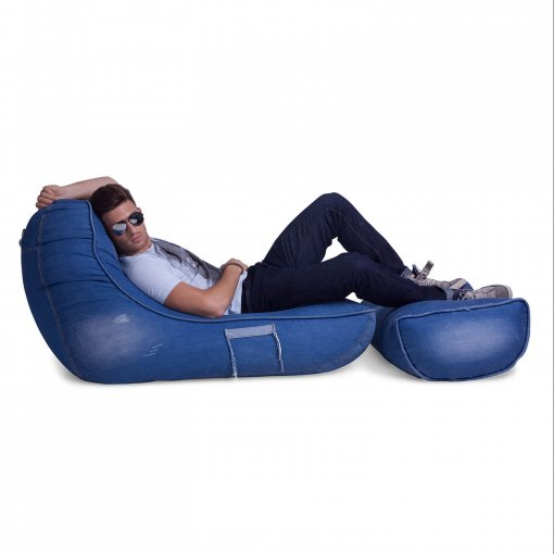 Denim Jeanious bean bag set side view