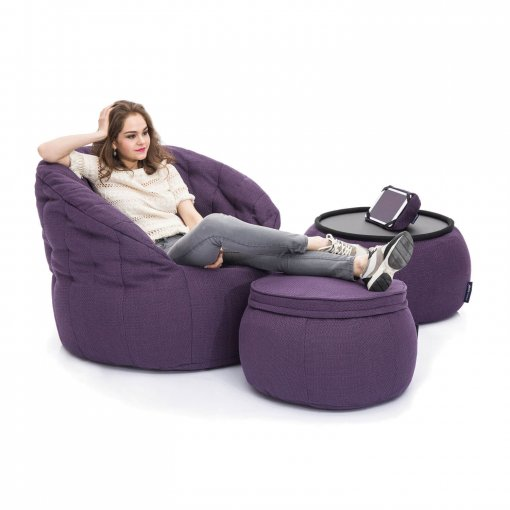 Aubergine Dream designer bean bag set