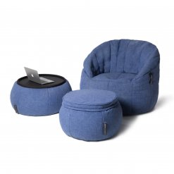 Designer bean bag set in blue jazz fabric