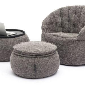 designer set luscious grey bean bag