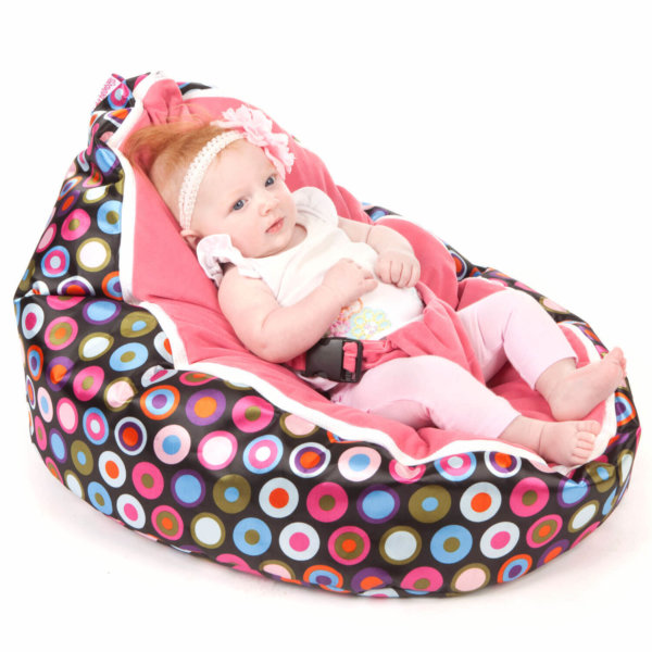 Baby bean bag in Disco Candy colour with baby