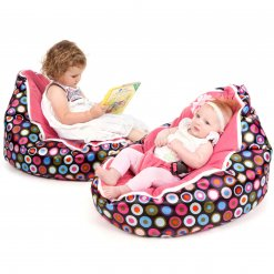 Baby bean bag in Disco Candy colour with two models