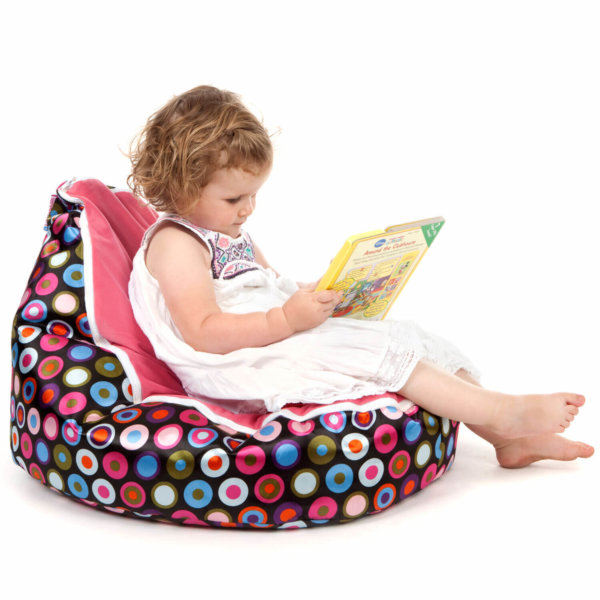 Baby bean bag in Disco Candy colour side view