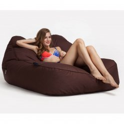 earthcore brown satellite twin lounger bean bag with model