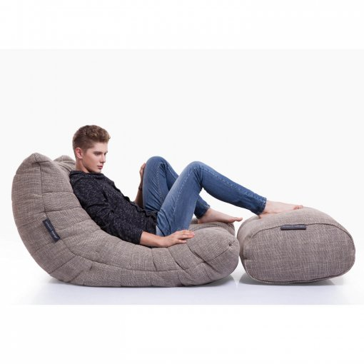 eco weave acoustic bean bag with model on side view