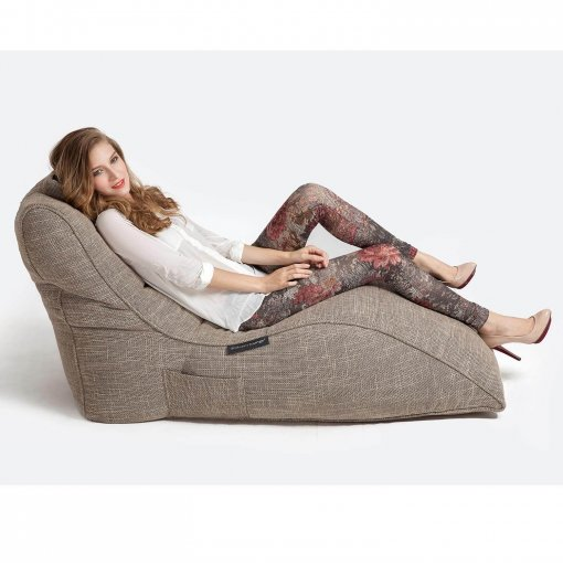 eco weave avatar lounger bean bag side view with model