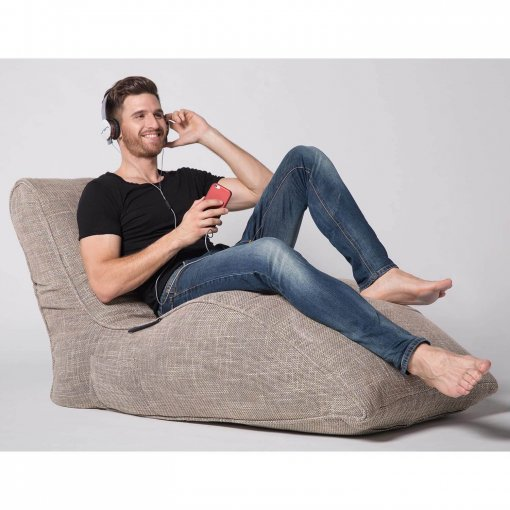 eco weave avatar lounger bean bag with model
