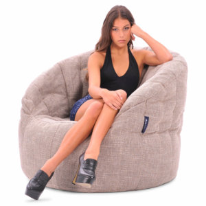 eco weave butterfly sofa bean bag with model