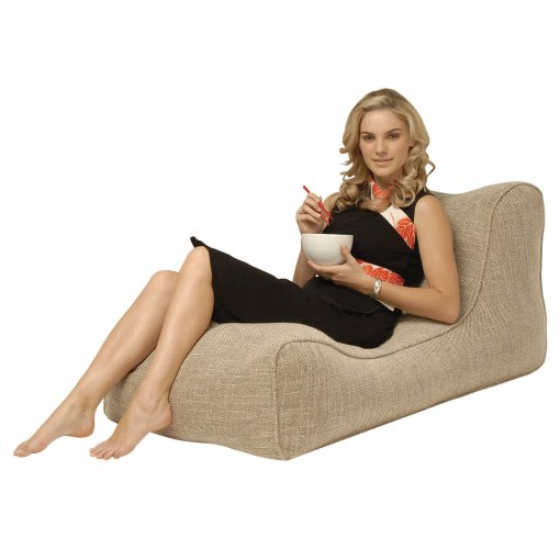 eco weave studio lounger bean bag with model