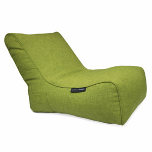 Evolution bean bag sofa in lime green 3/4 view