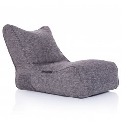 Evolution sofa bean bag in luscious grey 3/4 view