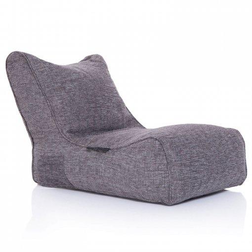 Evolution sofa bean bag in luscious grey 3/4 view