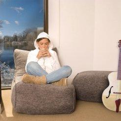 Evolution sofa bean bag in luscious grey lifestyle shot 2