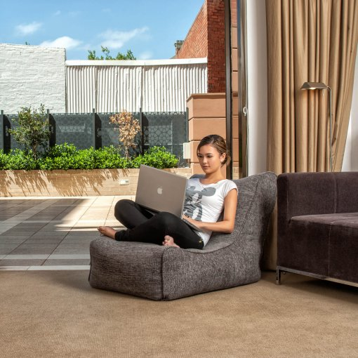 Evolution sofa bean bag in luscious grey lifestyle shot