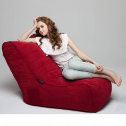 Evolution sofa bean bag in wildberry deluxe with model