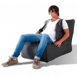 supernova dark grey evolution sofa bean bag with boy model