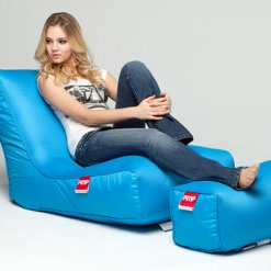 Air mesh bean bag lounger and ottoman set in blue