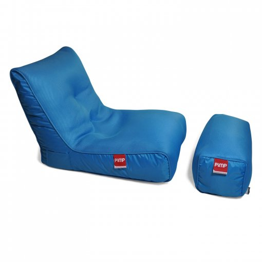 Air mesh bean bag lounger and ottoman set in blue 3/4 view