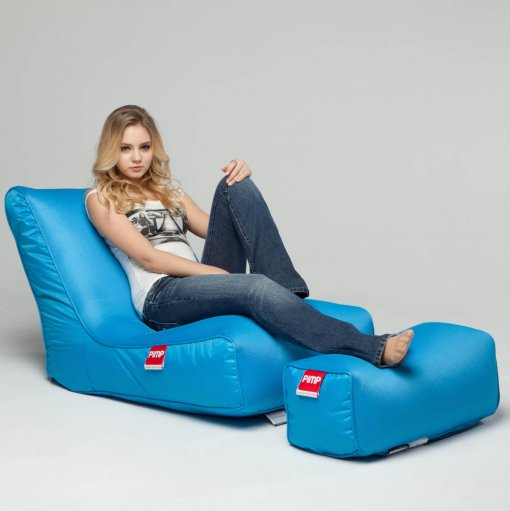 Air mesh bean bag lounger and ottoman set in blue with model