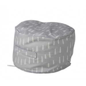 Kids bean filled ottoman in grey raindrops pattern