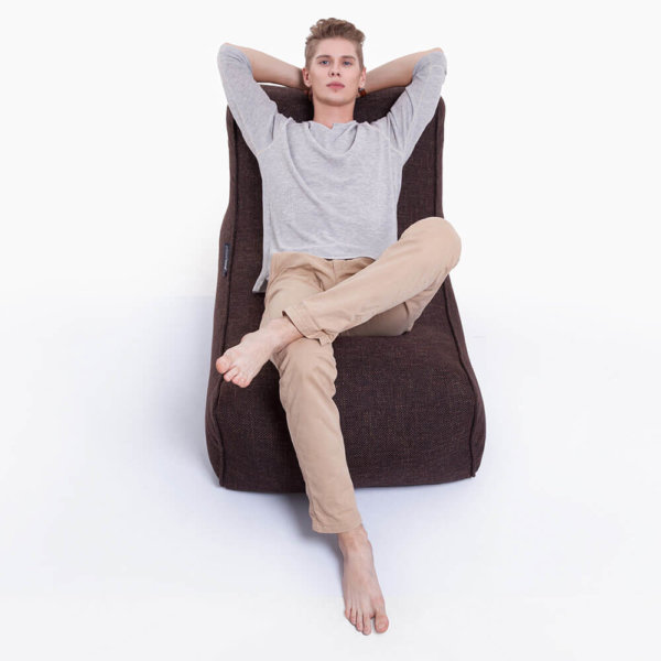 hot chocolate studio lounger bean bag front view with model