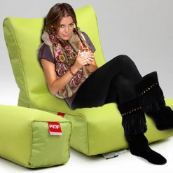 Air mesh bean bag lounger and ottoman set in green