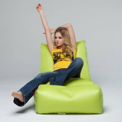Air mesh bean bag lounger and ottoman set in green front view