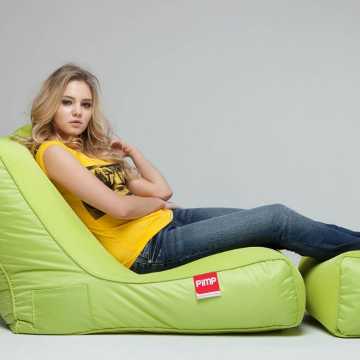 Air mesh bean bag lounger and ottoman set in green side view