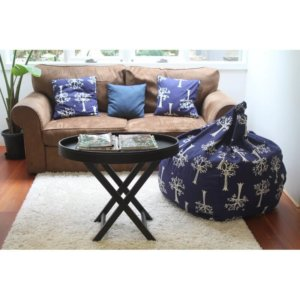 Lelbys kids bean bag in navy orchard colour lifestyle photo