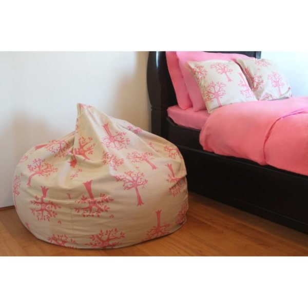 Lelbys kids bean bag in pink orchard colour lifestyle shot