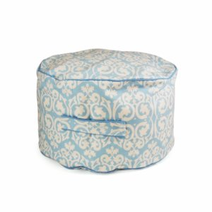 Lelbys kids bean filled ottoman in blue damask pattern