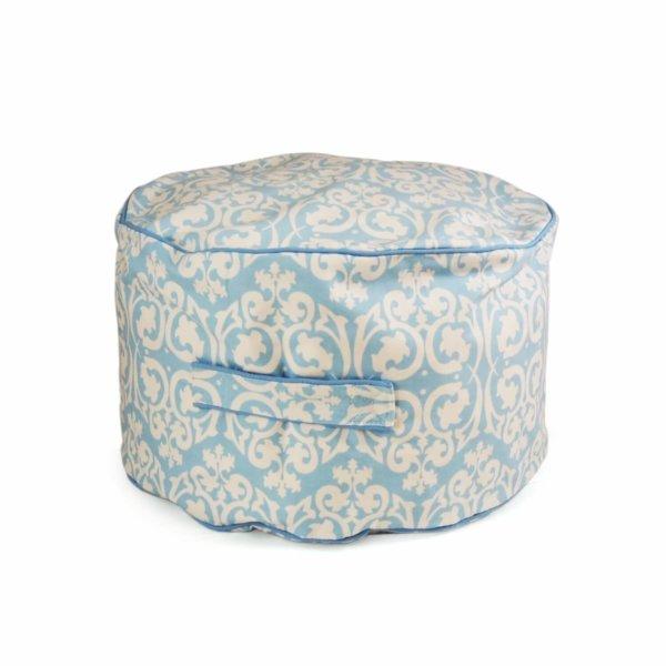 Lelbys kids bean filled ottoman in blue damask pattern