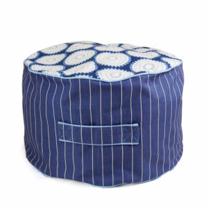 Lelbys kids bean filled ottoman in blue freckles pattern