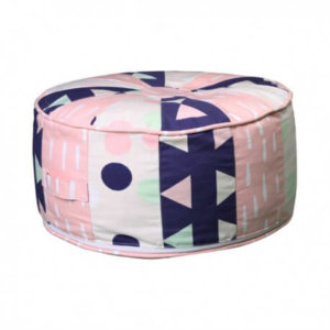 Kids bean filled ottoman in girls bowtie pattern