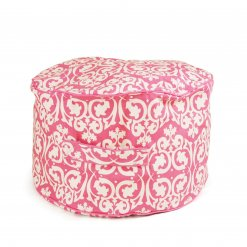 Lelbys kids bean filled ottoman in pink damask pattern