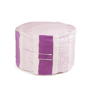 Lelbys kids bean filled ottoman in pink stripy pattern