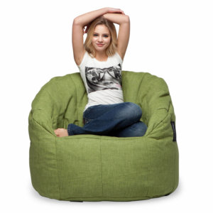 lime citrus butterfly sofa bean bag with model
