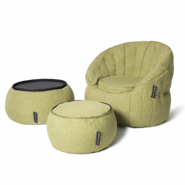 lime citrus butterfly sofa bean bag wiht versa table and ottoman