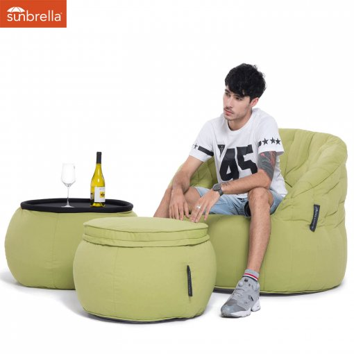 limespa versa table bean bag with model