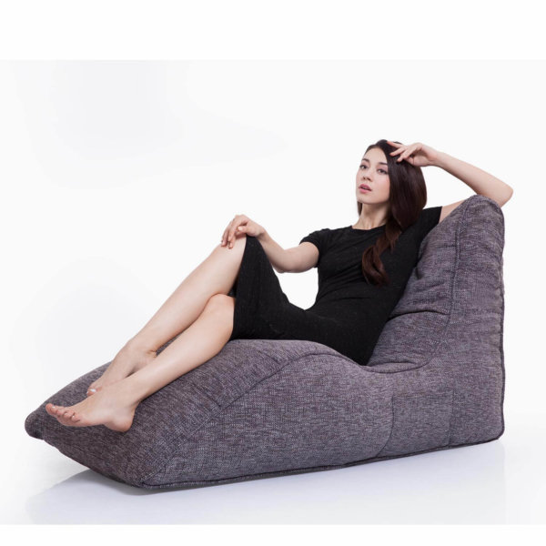 luscious grey avatar lounger bean bag with female model
