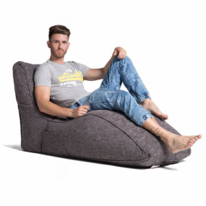 luscious grey avatar lounger bean bag with male model