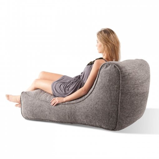 luscious grey studio lounger bean bag back view