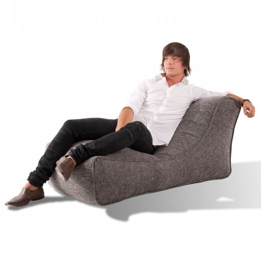 luscious grey studio lounger bean bag with model