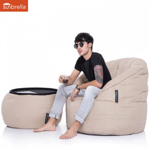 mudhoney dune versa table bean bag with model