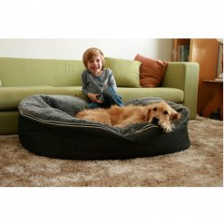 Extra large pet lounger with dog and model