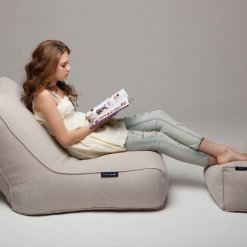Roma bean bag lounger set in natural harmony white