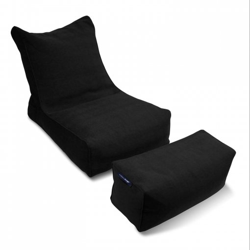 Roma bean bag lounger set in nero black isolated