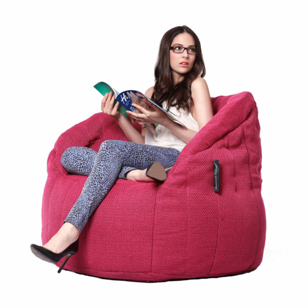 sakura pink butterfly sofa bean bag with model on side view