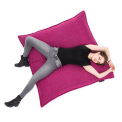 sakura pink zen lounger bean bag with model 1